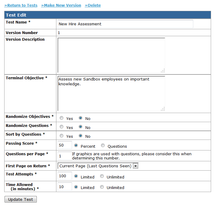 LMS Assessment test Setup Page