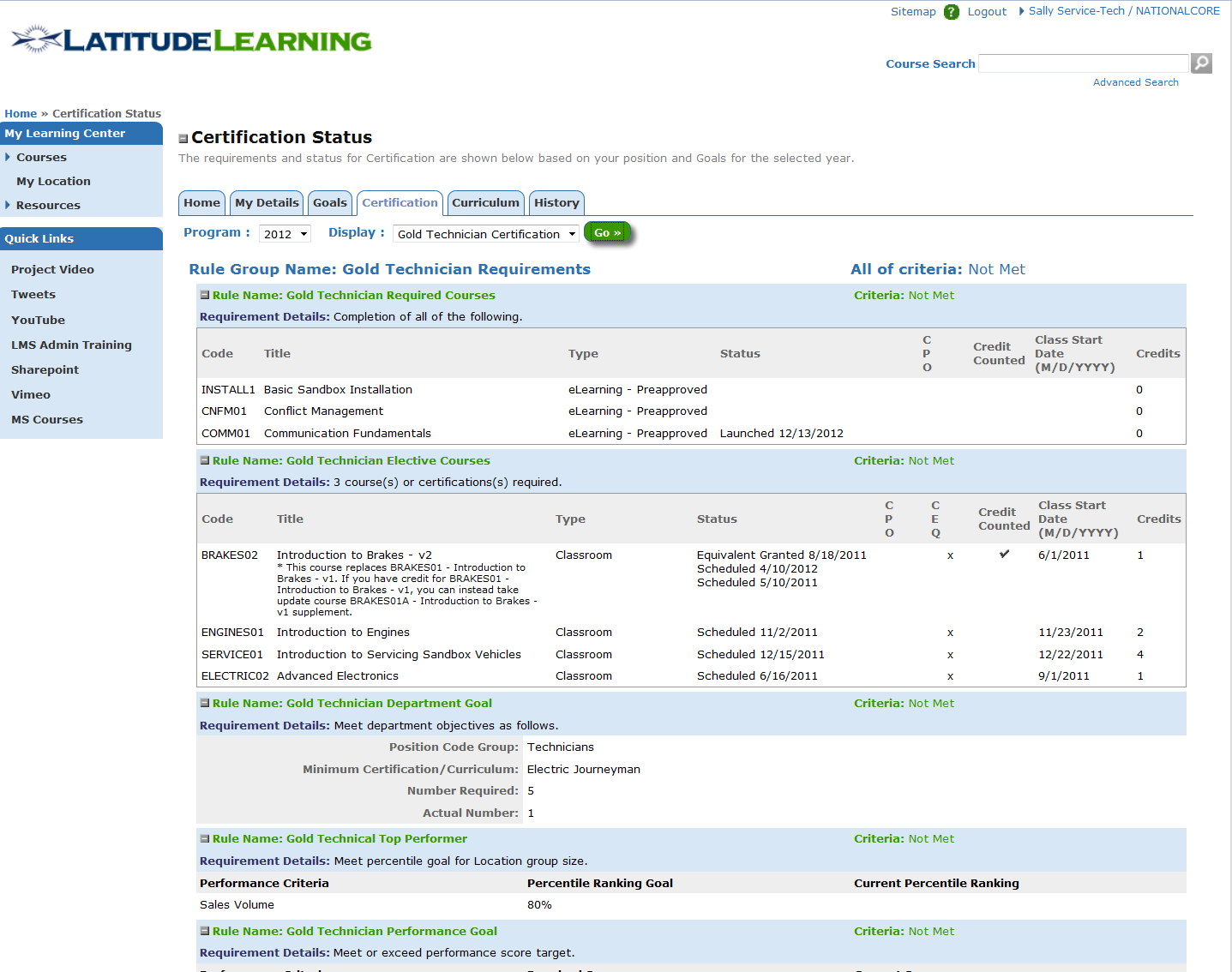LMS Certification Screen Shot