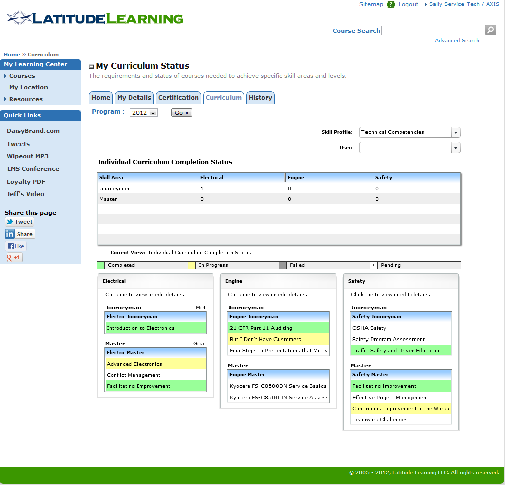LMS Curriculum Screen Shot