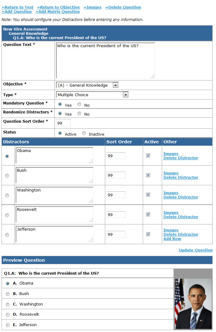 LMS Assessment Question Edit Page
