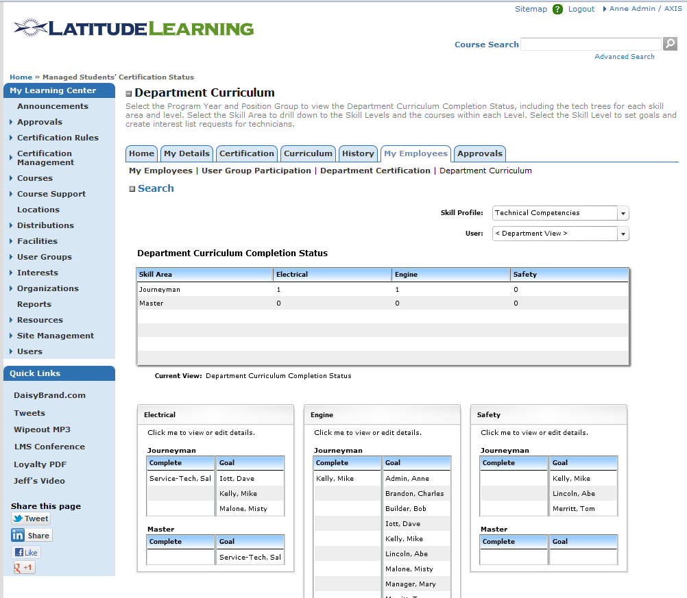 LMS Set Training Goals Page