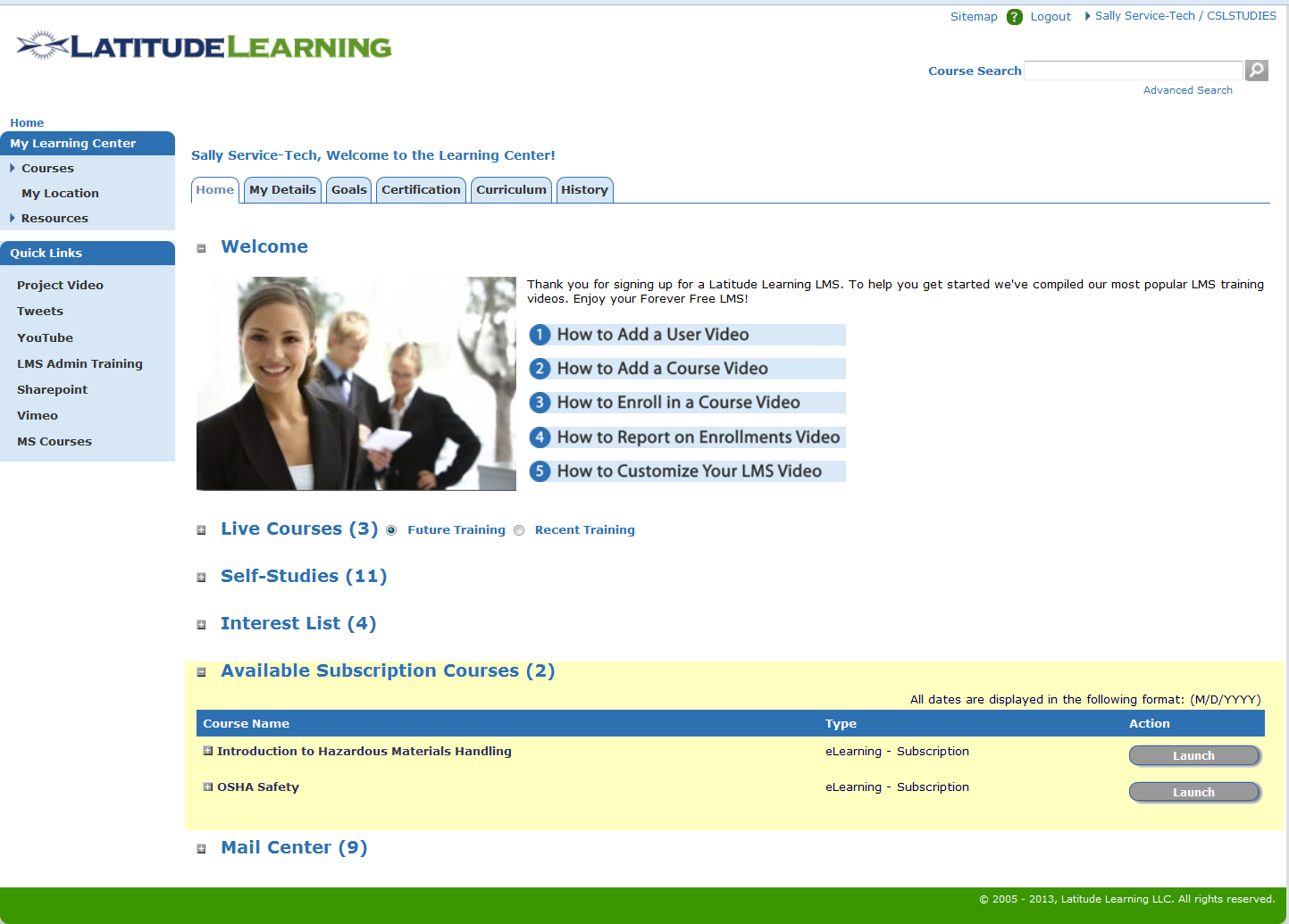 LMS Home Page with Course Subscriptions