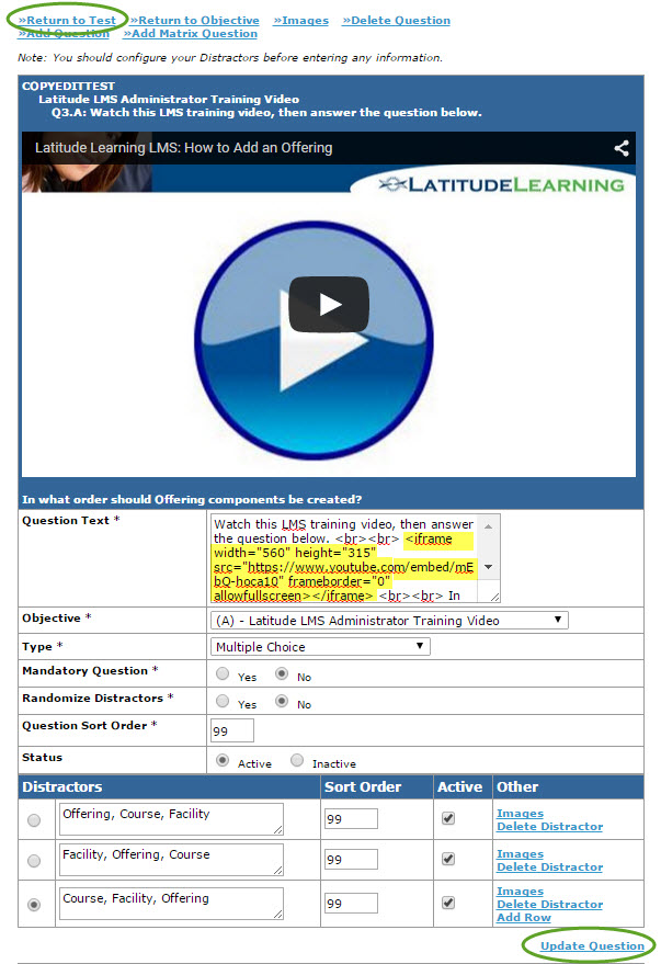 Screenshot of video embedded into assessment question content.