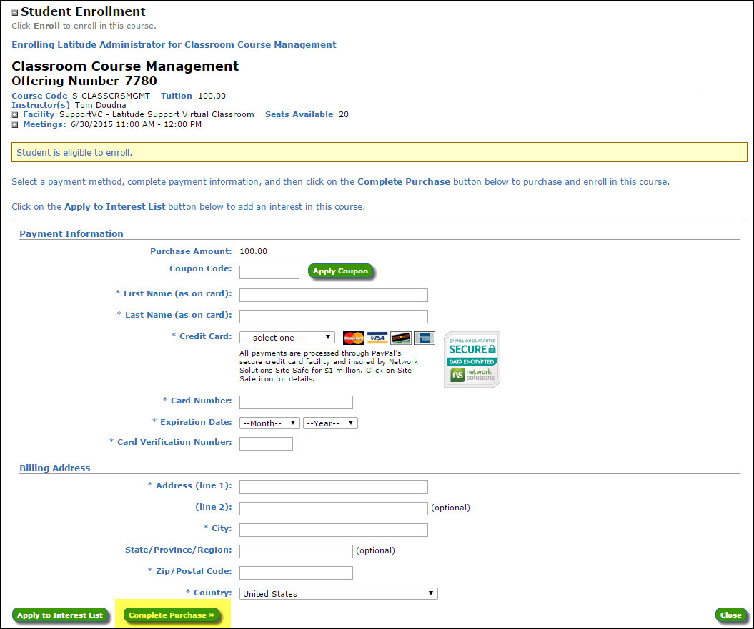 Example of Credit Card Payment Form for classroom course enrollment.