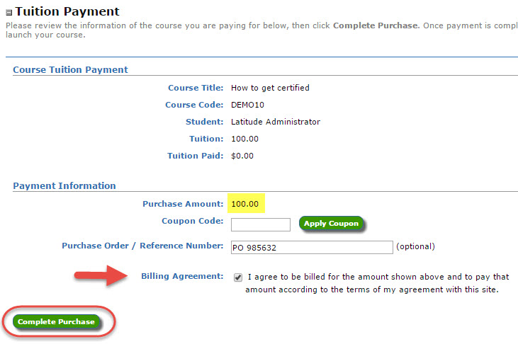 Screenshot of Tuition Payment form