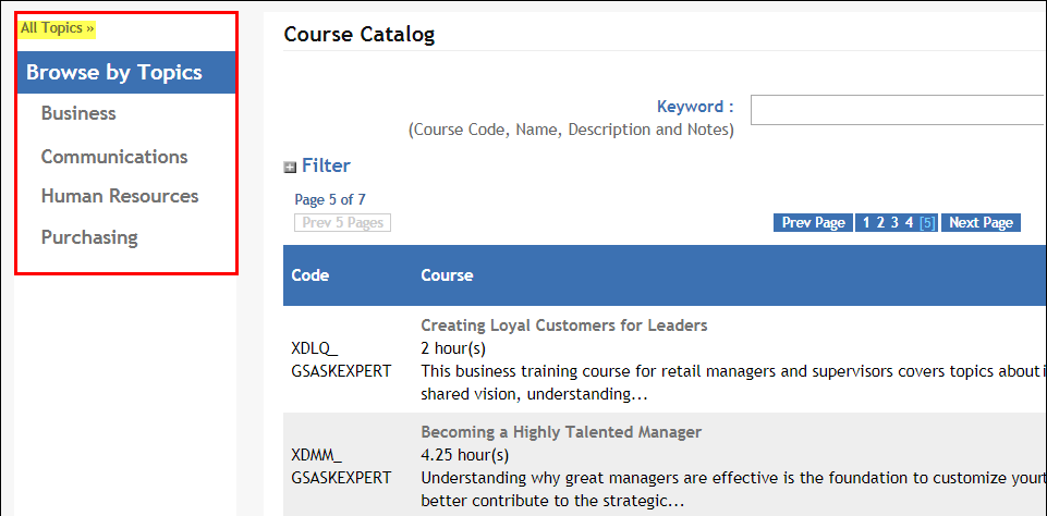 Course Catalog Search page showing Browse by Topic in the new left navigation pane