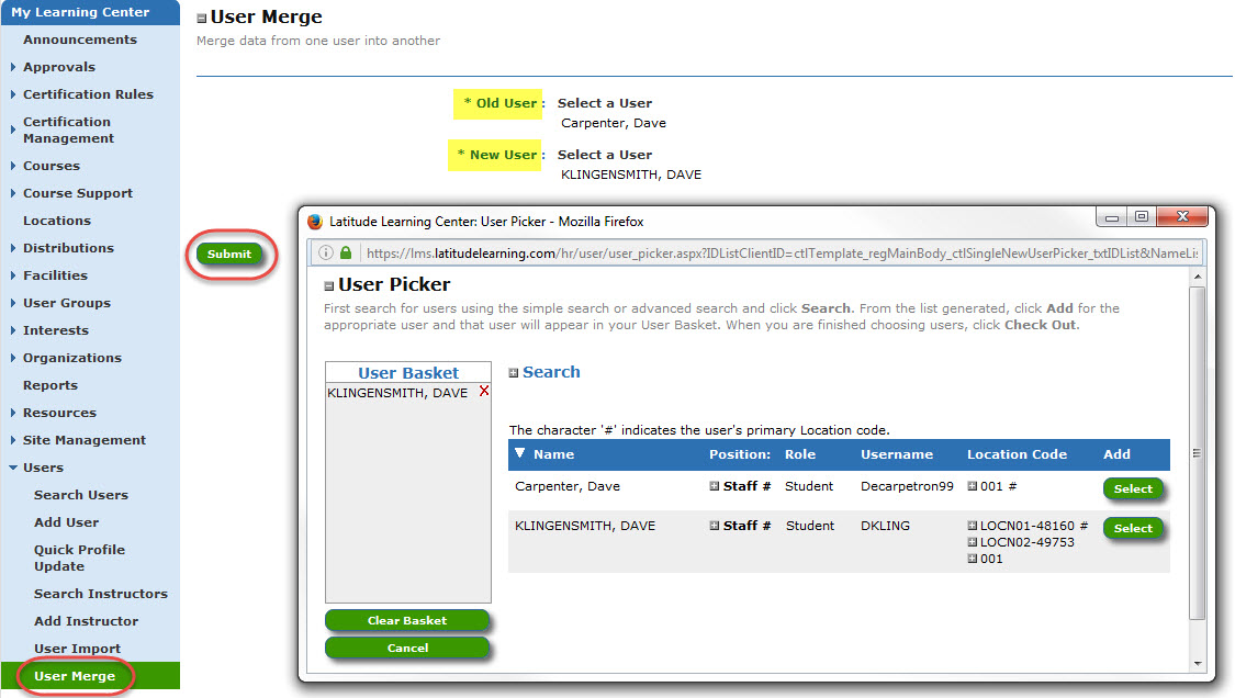 Screenshot of User Merge page with User Picker open.