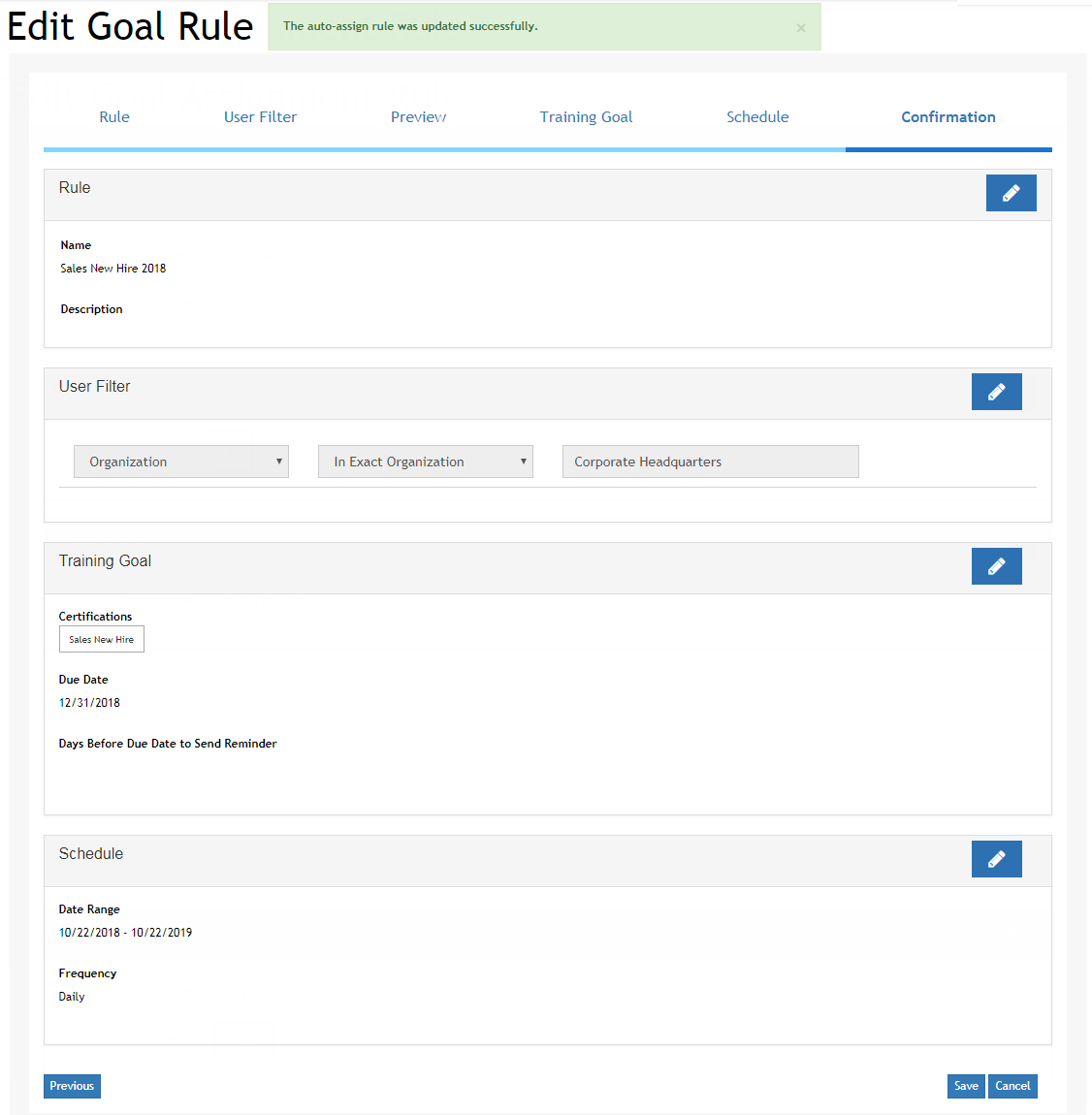 Example of Edit Goal Assignment wizard